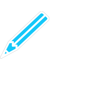 Pencil White Blue icon png