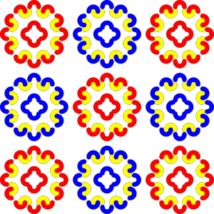 Blue And Red Tile Decoration icon png